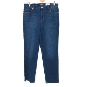 NEW Style & Co Straight Leg high rise tummy control mom Jeans dark Blue 12 women